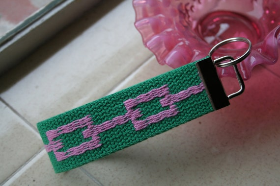 Palm Beach Pink and Green Recycled Belt Key Fob