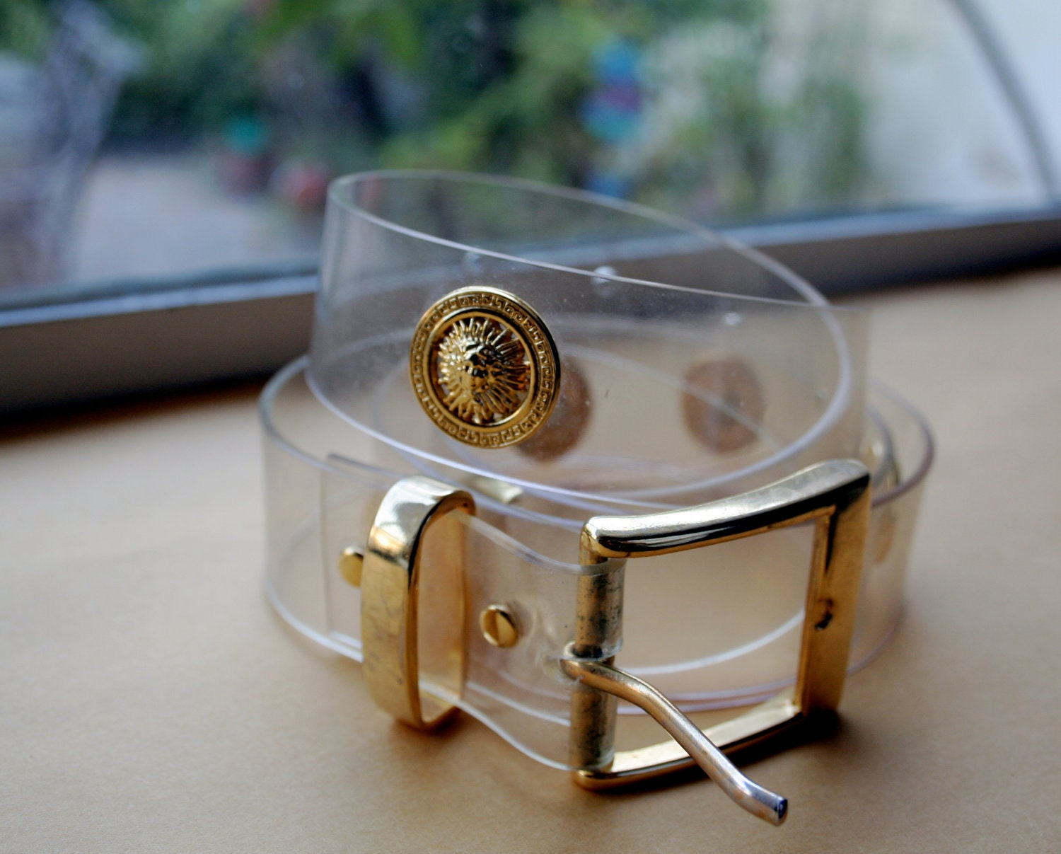 Reserved Vintage Clear Plastic Belt With Gold Buckle Gold