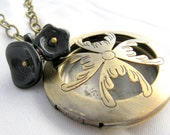 Vintage Scarab Locket - Black Flowers