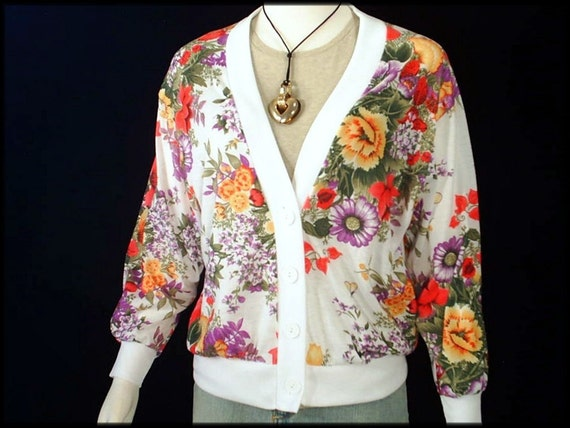80's vintage FLORAL jersey t-shirt cardigan top M