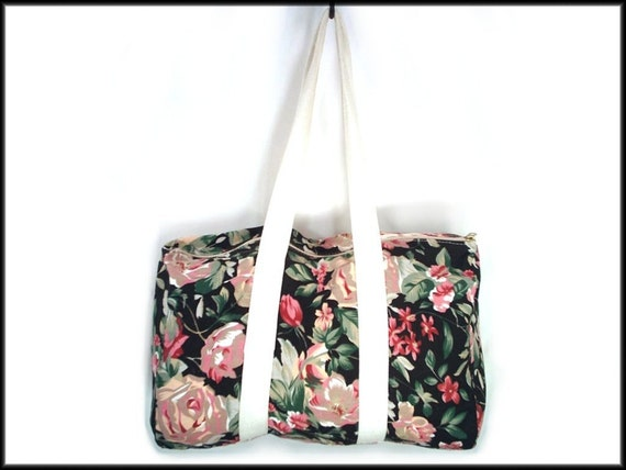 80's vintage CANVAS black floral duffle beach bag
