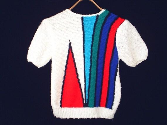 80's COLOR BLOCK vintage striped summer sweater M