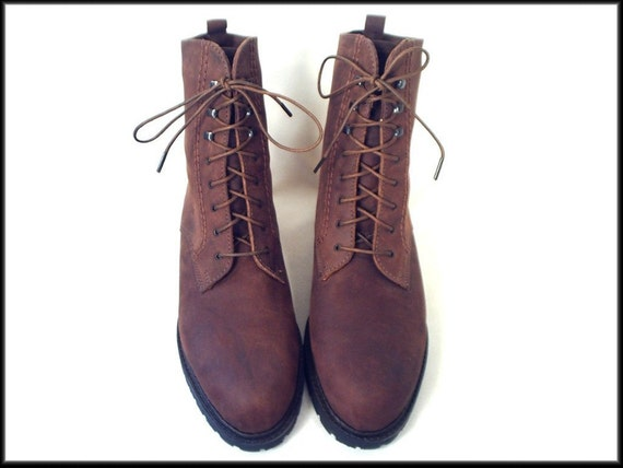 80's vintage BROWN leather lace up ankle grunge boots 8
