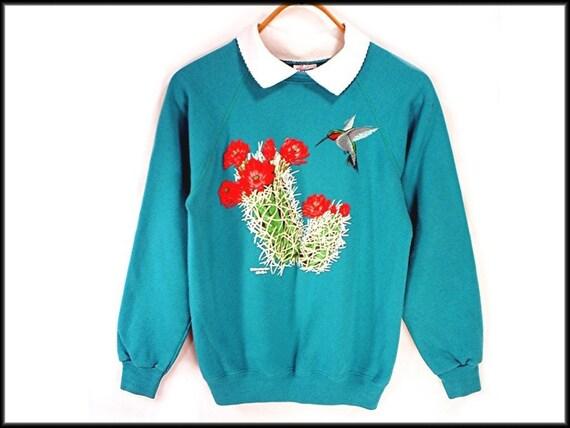 hummingbird and cactus vintage 80's SWEATSHIRT S M