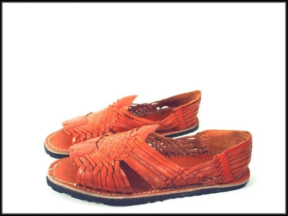 70's vintage HAND-MADE woven leather huarache sandals 9