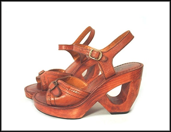 70 S Platform Sandals Wood Cut Out Heels By Rockymountainretro