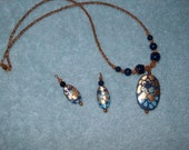 Navy and Gold Pendant Necklace w/matching Earrings