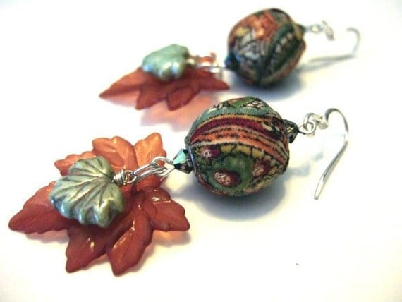 One of a Kind Sterling Silver, Ceramic, Vintage Lucite, Swarovski Crystal, and Fabric Earrings