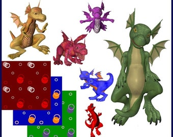 Baby Dragon Graphics Clip Art Set -- 52 royalty free poses and backgrounds