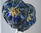 Steampunk blue and gold ribbon hatpin