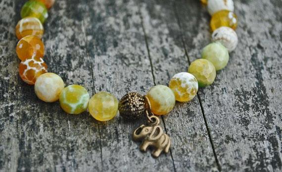 Yellow Agate Elephant Mala Bracelet