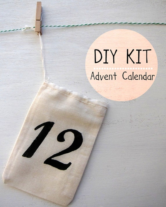 Advent Calendar Diy Kit : Items similar to diy advent calendar kit small cotton