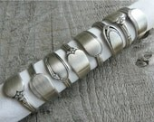 Napkin Rings, Antique Silver Spoon Patterns, Set of 8, Lot 10