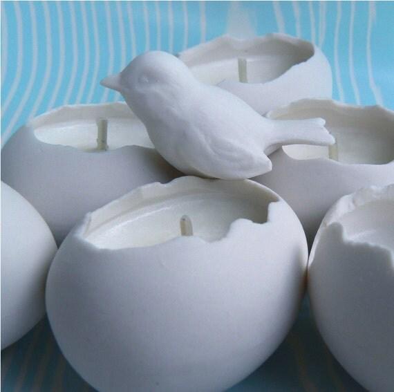 Translucent Porcelain Egg, Votive Soy Candles