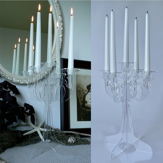 Modern Acrylic Candelabra, Clear Laser Cut Design: Phantom Candelabra