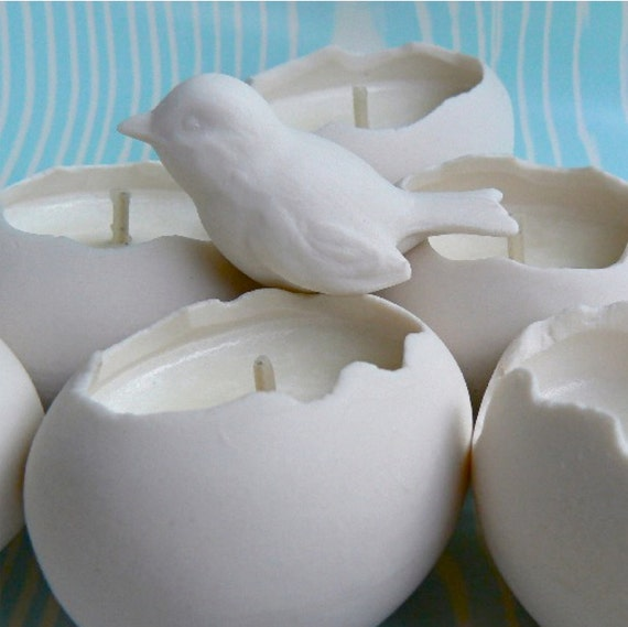 Porcelain Votive Soy Candles, Set of 2 Eggs with Porcelain Bird