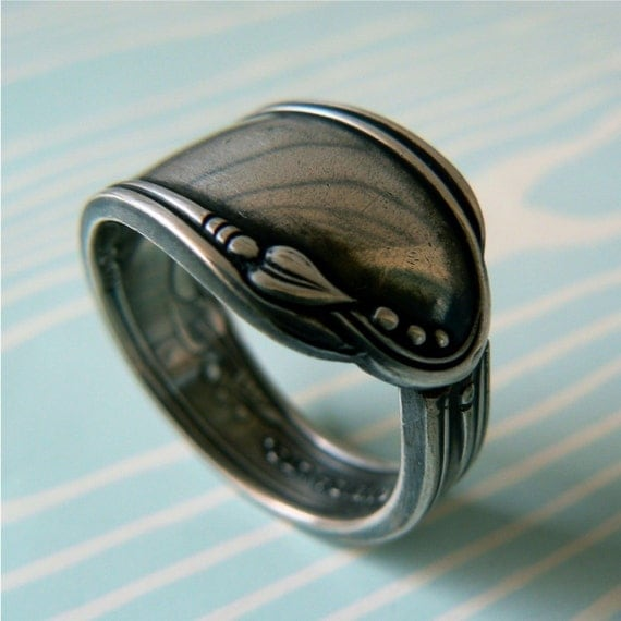 Antique Silver Spoon Ring - Meadowbrook 1936