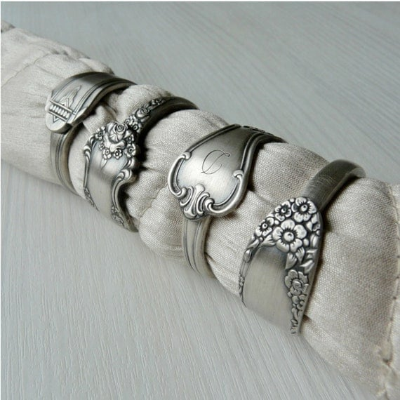 Silver Spoon Napkin Rings, Antique Patterns, Set of 4