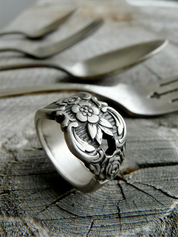 Spoon Ring - Antique Silver, Distinction Pattern 1951, Last One Left