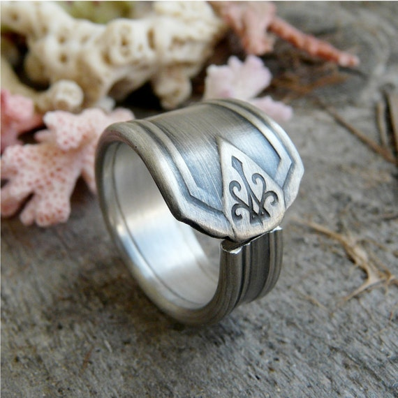 Silver Spoon Ring, Art Deco Pattern Aladdin, Last One Left