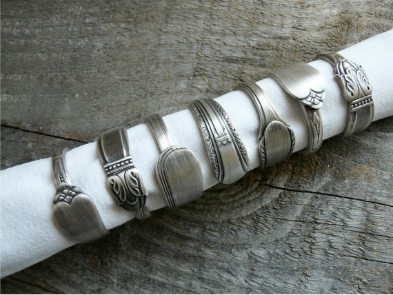 Napkin Rings, Antique Silver Spoon Patterns, Set of 8, Lot 19