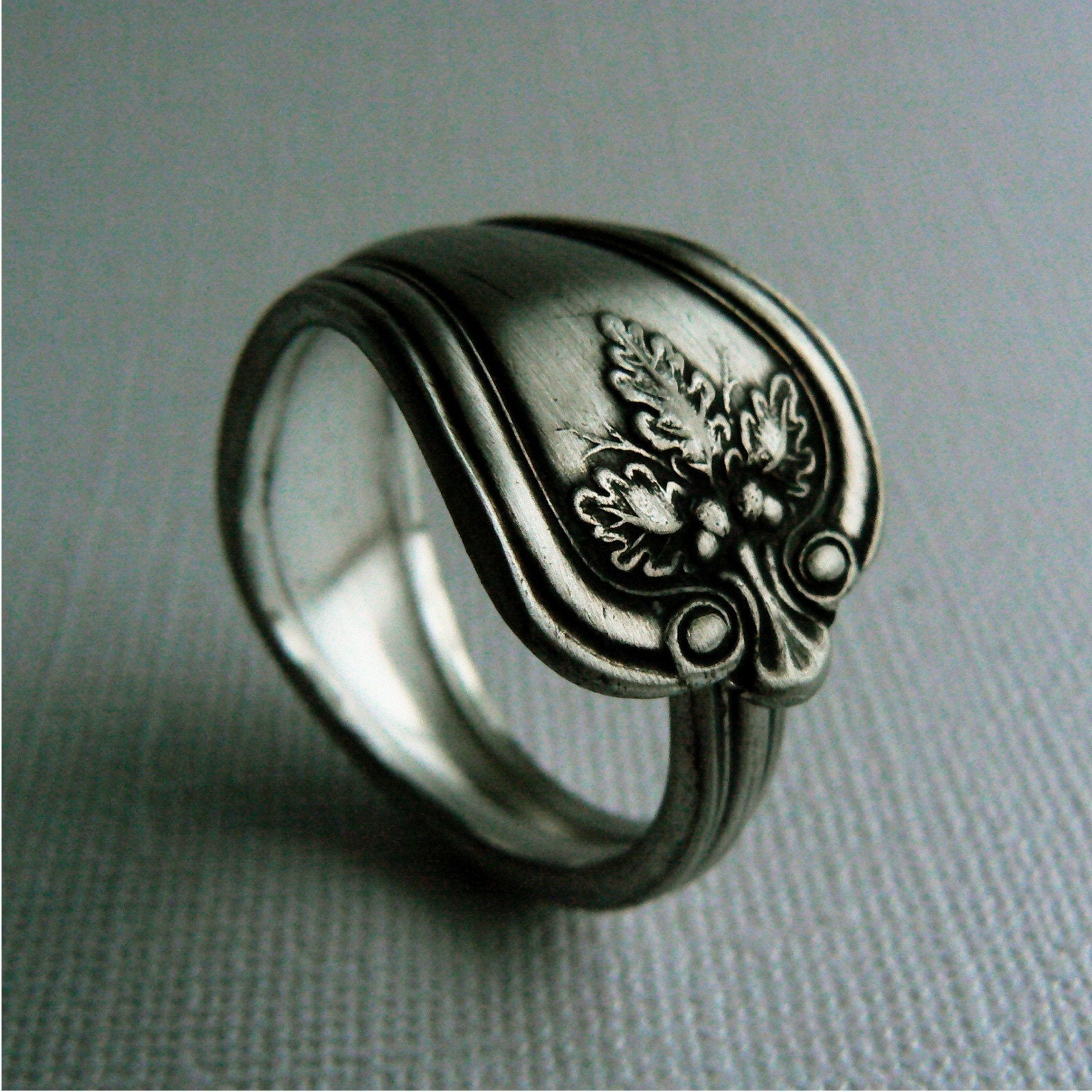 oak unisex antique silver spoon ring by revisions on etsy