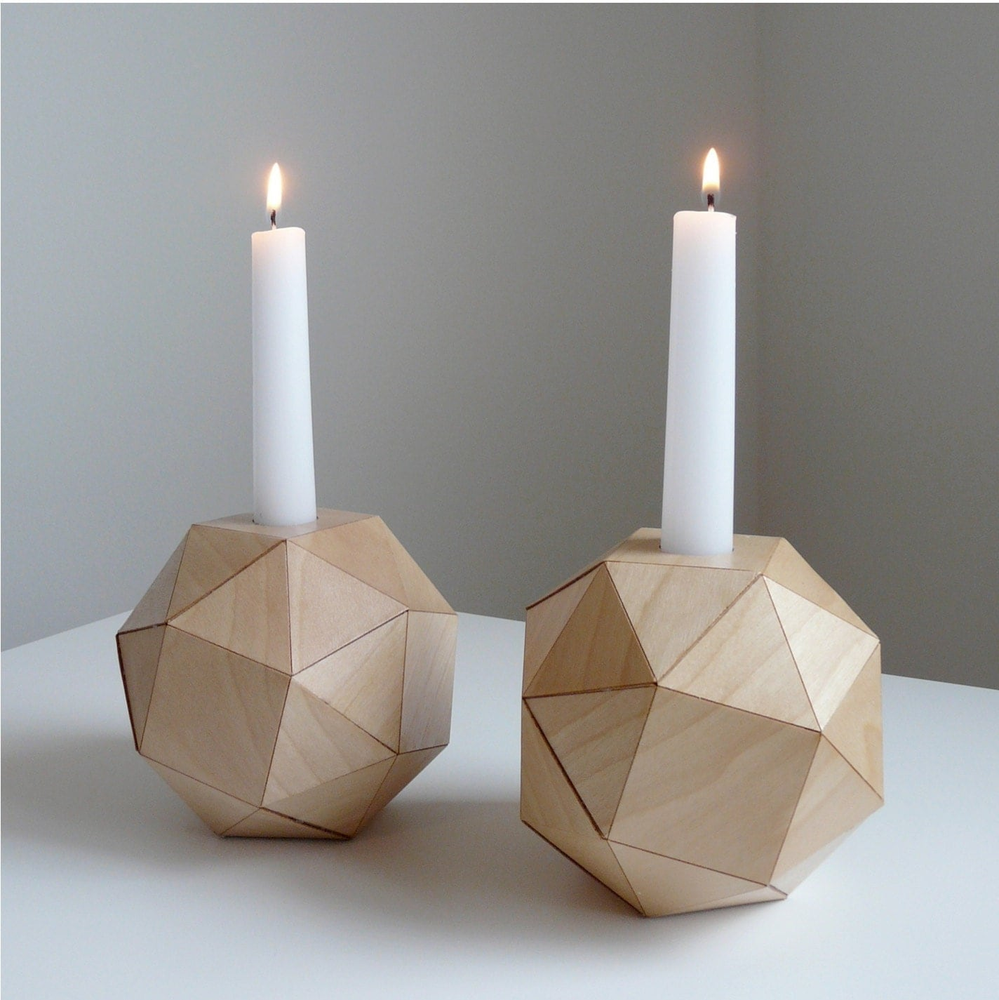 Wooden geometric candlestick holders modern table top by for Candle holders out of wood