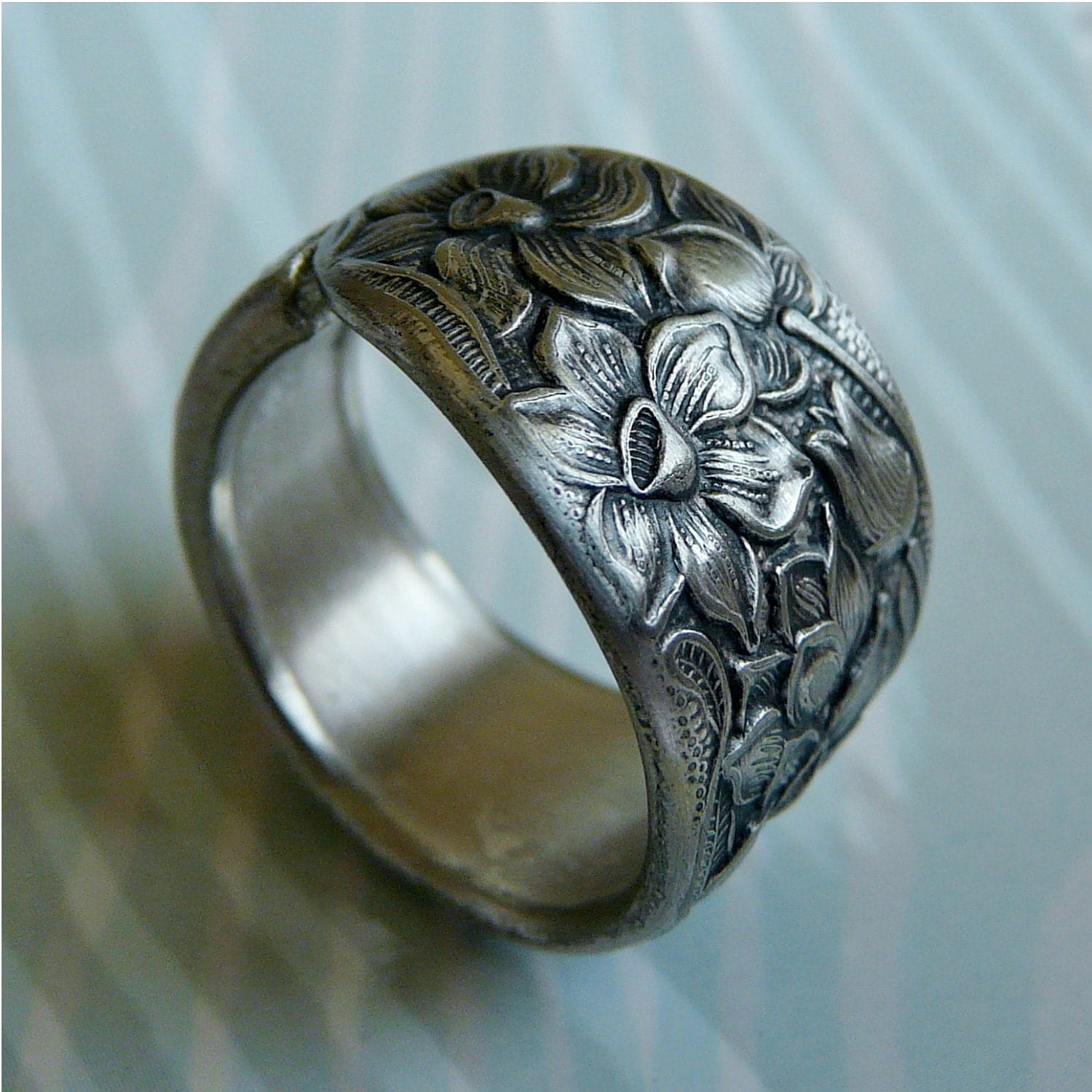 spoon ring antique silver pattern narcissus by revisions