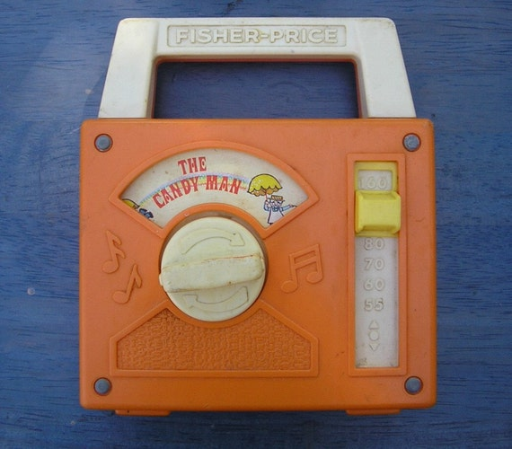 SALE Vintage 70s Fisher Price Candy Man Toy Wind Up Music Radio