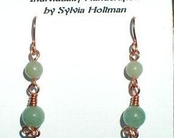 Aventurine and Copper Earrings