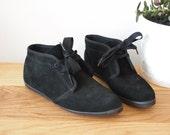 Vintage Mint Condition Keds Black Suede Booties Womens 7.5