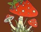 Frog Mushroom Retro  70's  - M L XL 2XL - T Shirt Chestnut