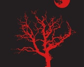 Halloween T Shirt Spooky Tree Moon Goth Emo Creepy Eek