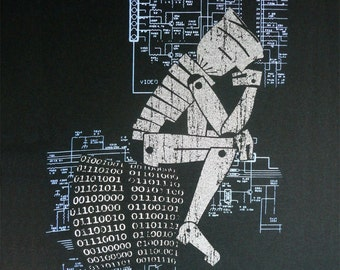 Silver Robot Philosopher - Thinking Man - T Shirt - S L XL 2XL XXL