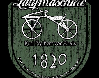 Early bicycle -  Laufmaschine - Bicycle prototype Tee Shirt - German - Cycling