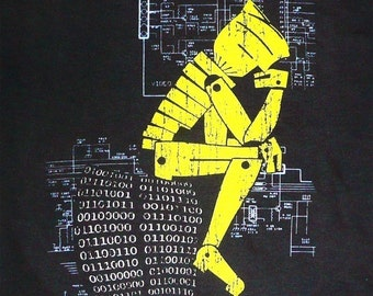 Robot Philosopher - Thinking Man - T Shirt - S XL 2XL 3XL 4XL 5XL