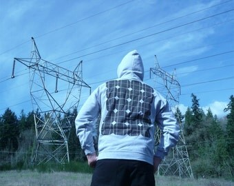 Solar Power Hoodie - Solar Panel Print - Geek - Alternative Energy - M XL 2XL