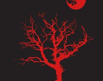 Halloween T Shirt Spooky Tree Moon Goth Emo Creepy Eek