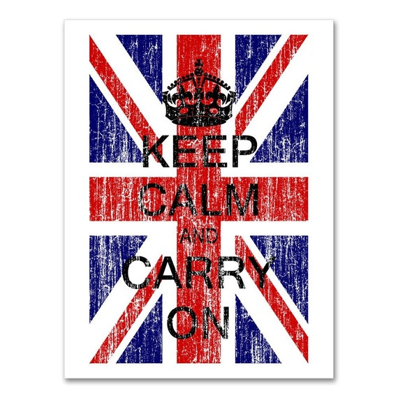 Keep Calm And Carry On - British Flag - 18 X 24 - Union Jack