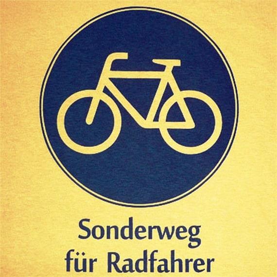 German Biking Shirt - Bike Sign - Sonderweg fuer Radfahrer