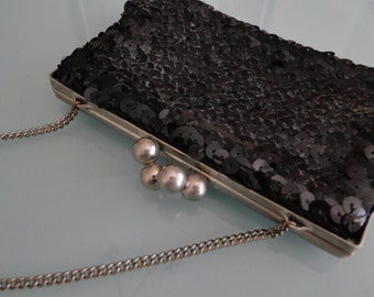 Antique Purse, Sequined Purse, Black Handbag