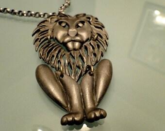 Vintage Pewter Colored Lion Necklace