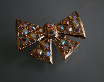 Vintage Bow Clip With Aurora Borealis