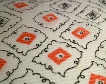 Simple Whimsical Flower Motif - Vintage Fabric - Crepe