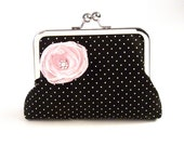 Audrey Hepburn Mini Clutch in Black and White Polka Dots with Pink Chiffon Flower Brooch