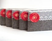 CORAL Bridesmaids Gifts- 5 Premiere GREY Clutch Envelopes with CORAL/ Melon Satin Flower and Pearl Center