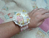 Wrist Cuff Pincushion Pattern PDF - primitive bracelet pin keep cushion band specialty fabric rubber stamps buttons scrunched seam binding
