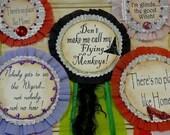 Wizard Oz Badges Pin Pattern PDF- doll jewelry ribbon star party