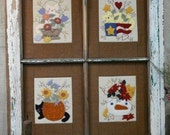 Four Seasons Cats & Flowers Pattern PDF - window frame quilt stitchery embroidery wool applique kitty