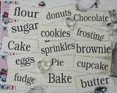 Large 15 Baking Cooking Kitchen Flash Cards - PDF vintage like brownie scrapbooking digital uprint